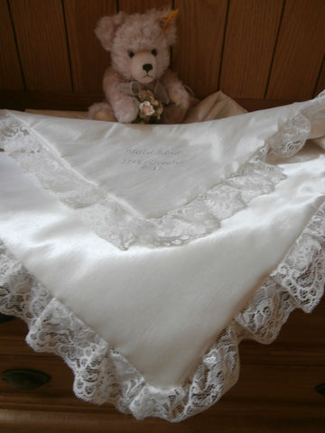 PERSONALISED WHITE CHRISTENING SHAWL ANY THREAD COLOUR