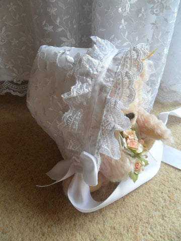 The Emily lace christening bonnet.