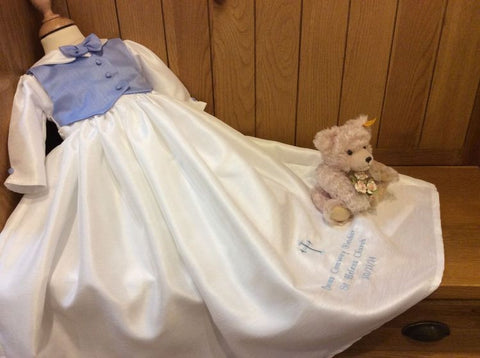 The Charles boys christening gown with blue waistcoat
