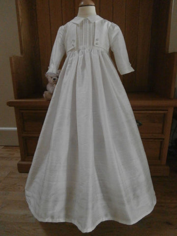 The Milan silk christening gown for boys and girls.