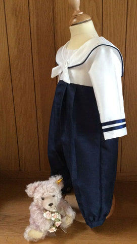 The Admiral boys christening sailor suit.
