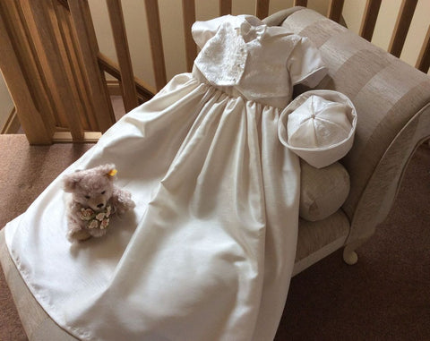 The Charles boys christening gown with brocade waistcoat.