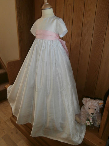 The Paris girls christening gown in silk.