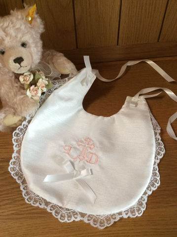 Embroidered, personalised christening bib. Pink and lace.