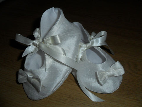 Rebecca tie up christening bootees.