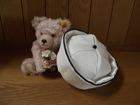 Sailor christening hat, white and navy.
