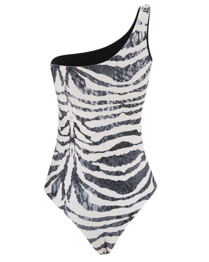 ZEBRA ONE PIECE ONE SHOULDER