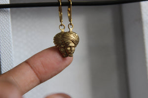 Brass Cameo Earrings