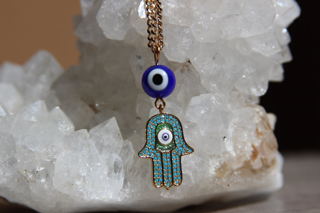 All Eyez On ME Copper and Brass Hamsa Necklace - We Love Brass