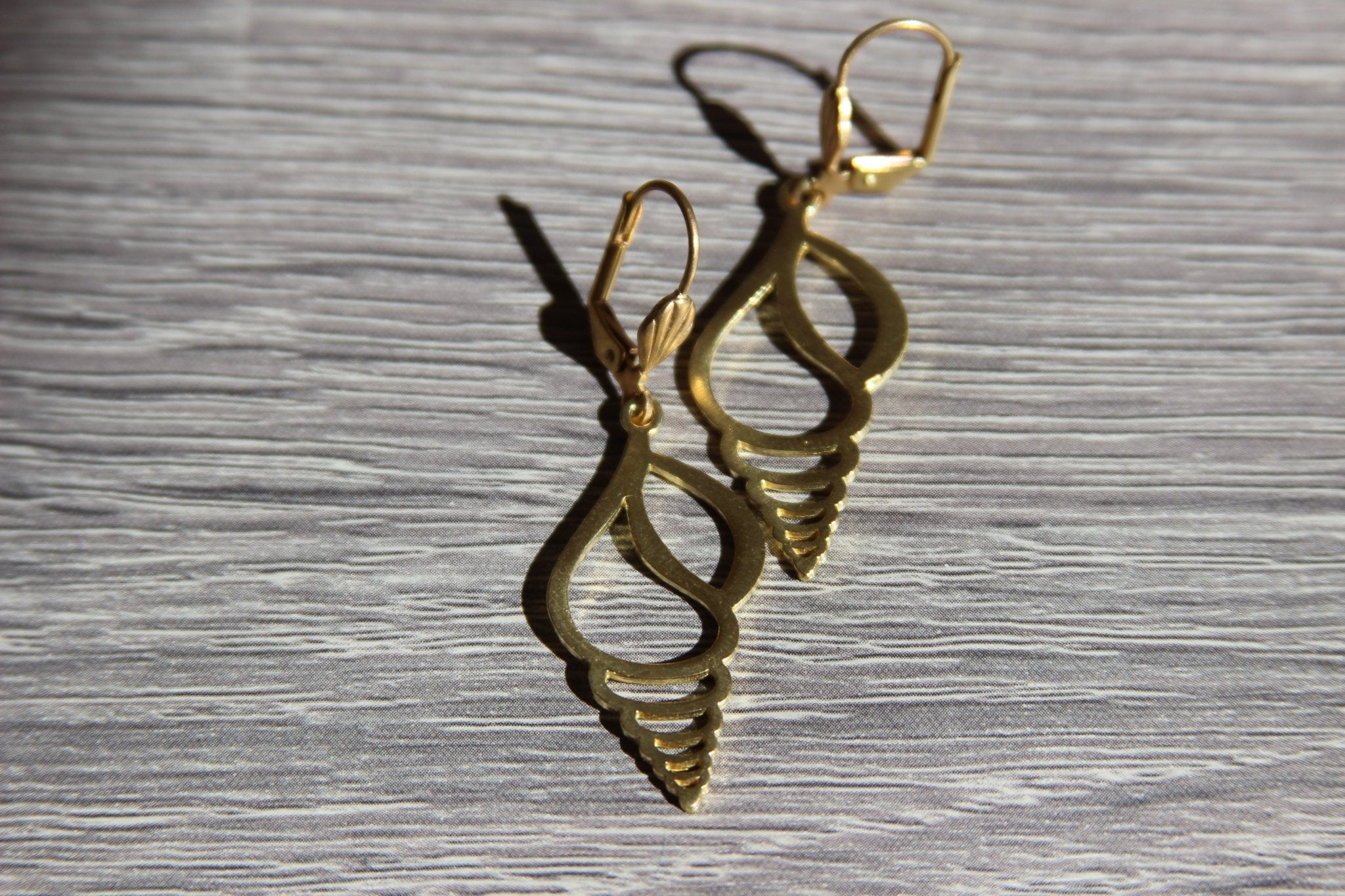 Auger Shell Brass Earrings - We Love Brass