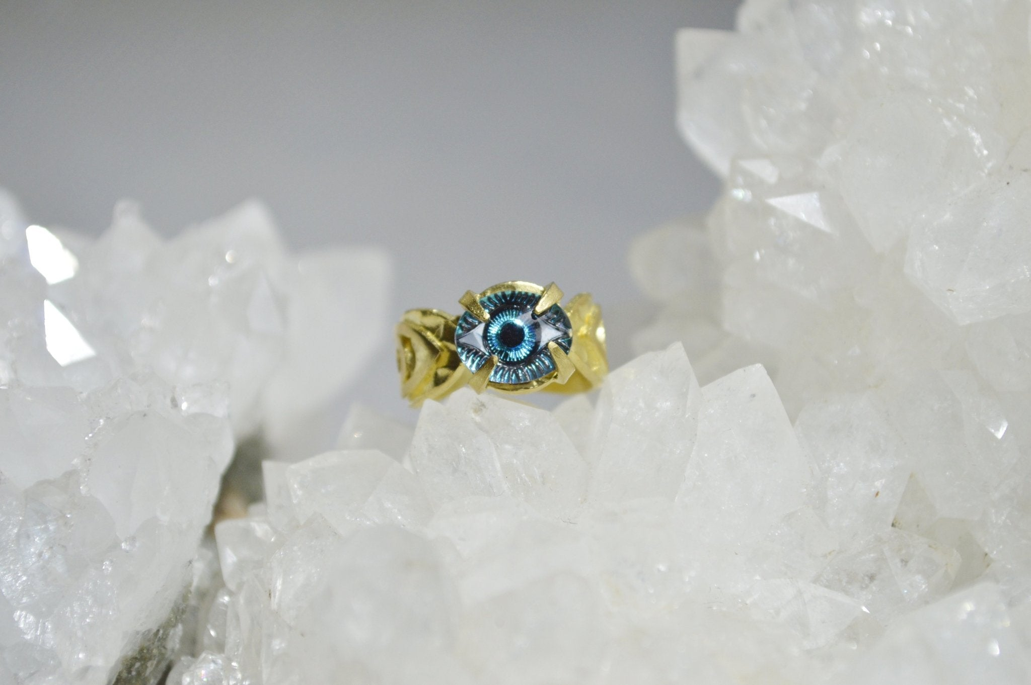 Blue Evil Eye Brass Ring - We Love Brass