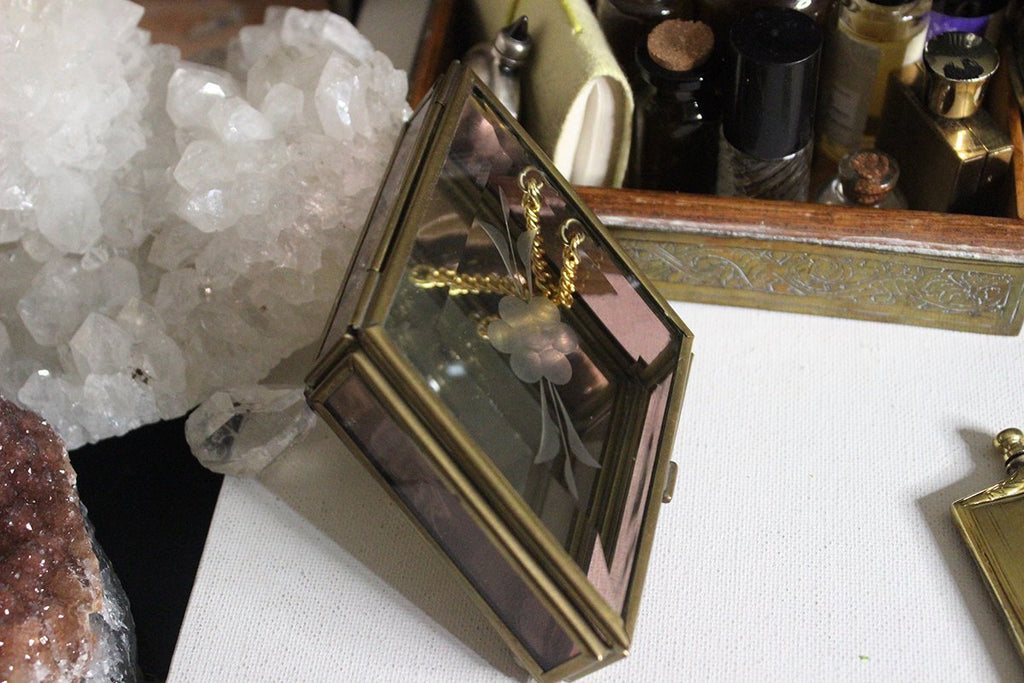 Brass and Glass Diamond Shaped Trinket Box - Golden Treasure Box