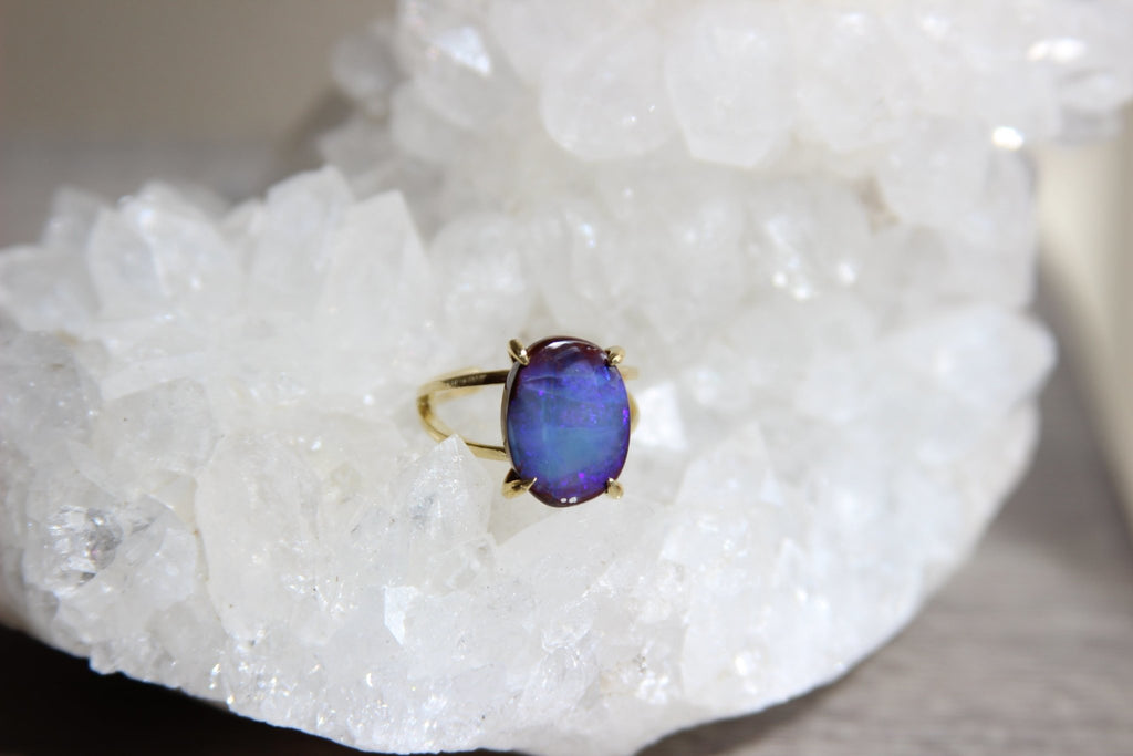 Brass Australian Boulder Opal Ring - We Love Brass
