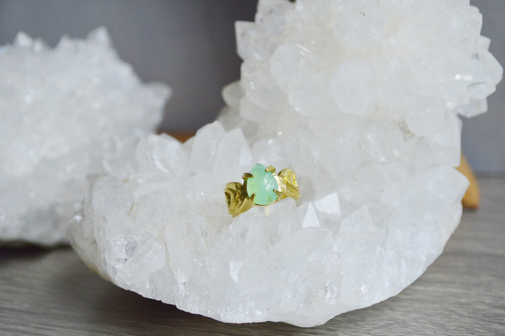 Brass Chrysoprase Ring - We Love Brass