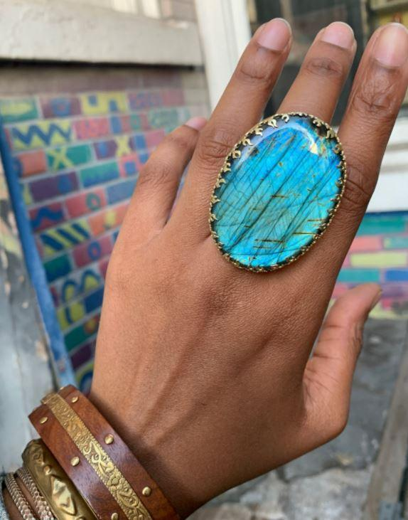 Burning Shores Handmade Labradorite Ring - We Love Brass