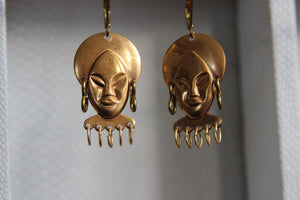 Calma Mama - African Woman Brass Earrings - We Love Brass