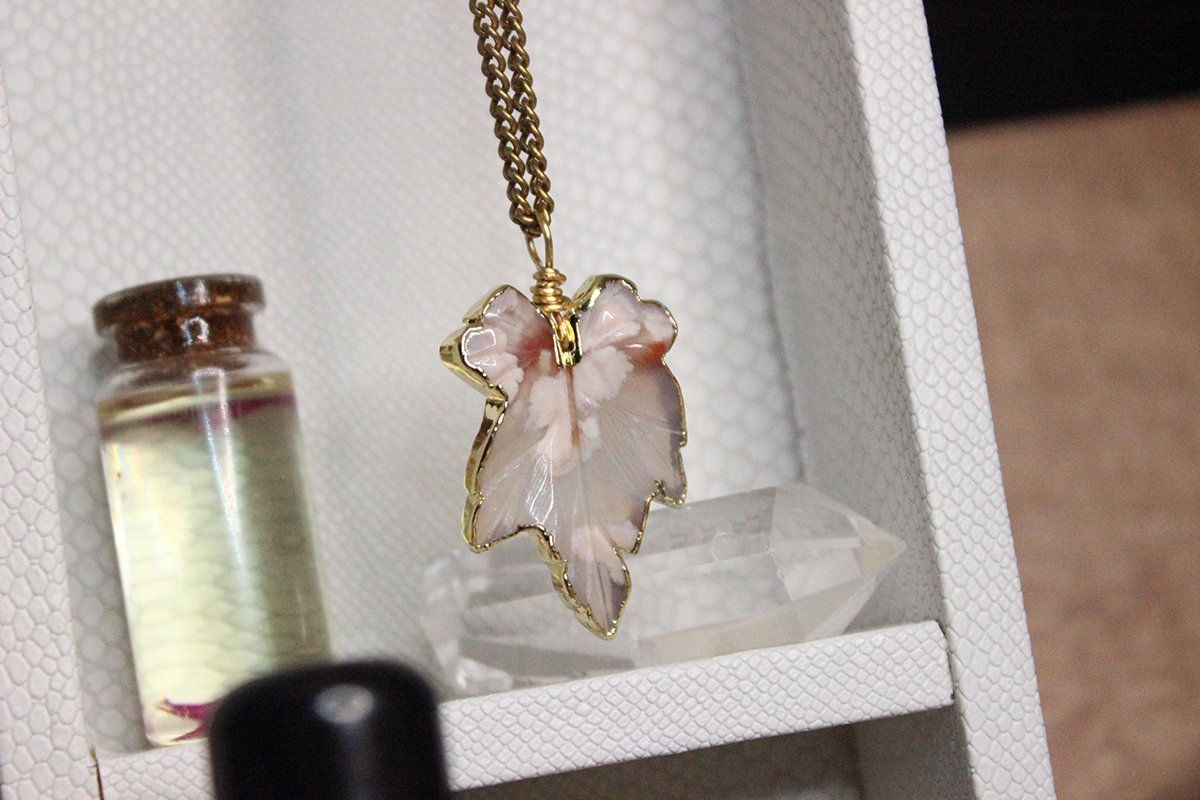 Cherry Blossom Crystal Necklace - Brass - We Love Brass