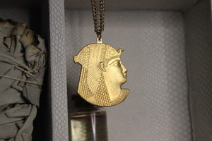 Cleo Egyptian Cameo Necklace - Brass - We Love Brass