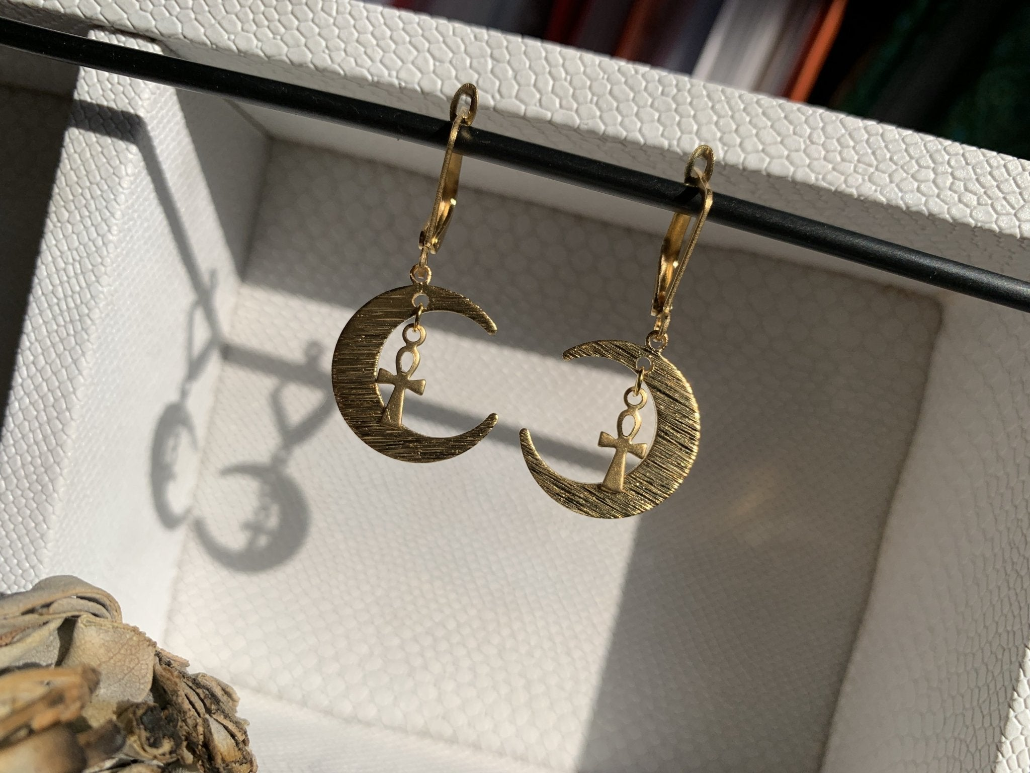 Crescent Ankh Brass Earrings - We Love Brass