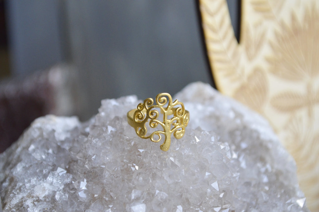 Dainty Branched Brass Tree Ring - We Love Brass