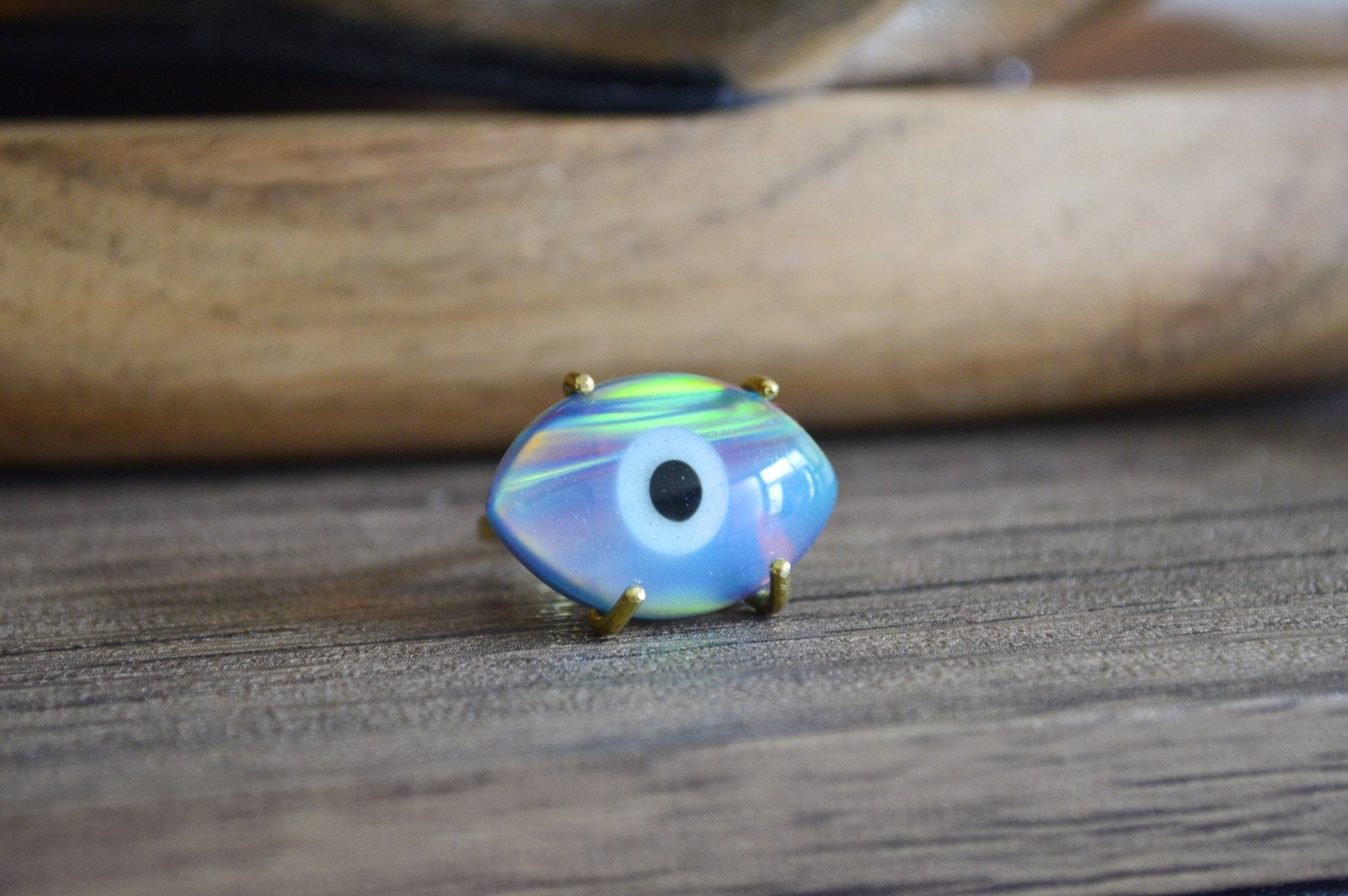 Dark Aura Opal Evil Eye Brass Ring - We Love Brass