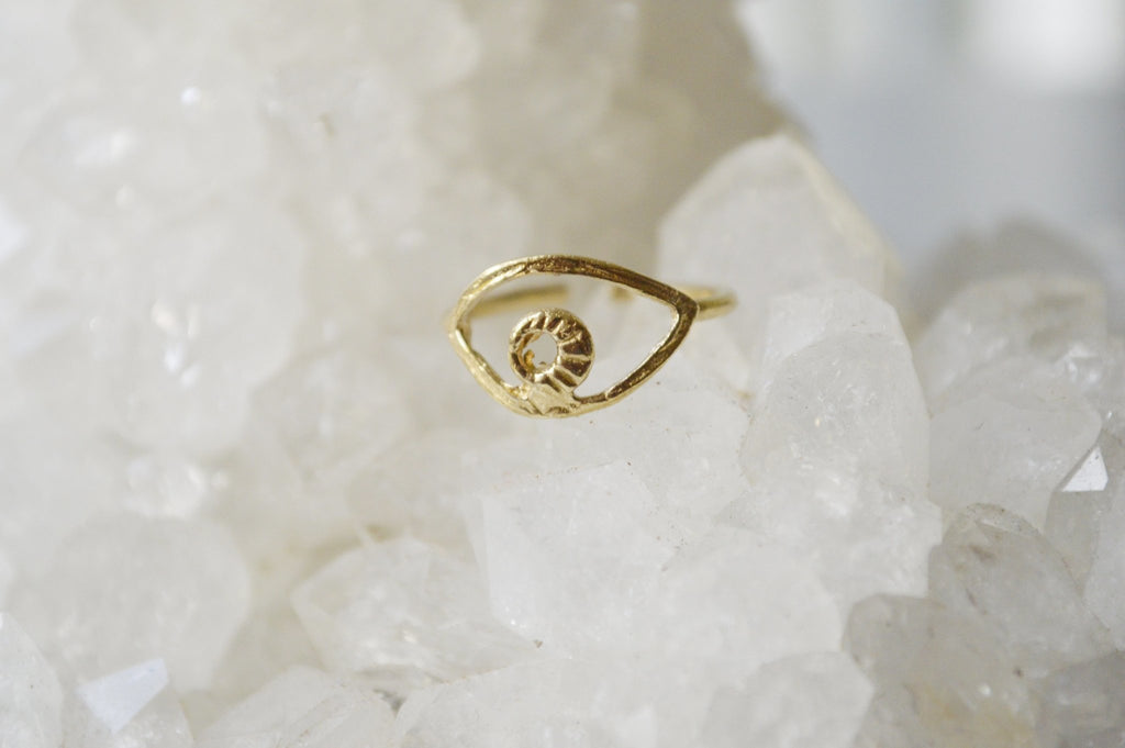 Evil Eye Brass Midi Ring - We Love Brass