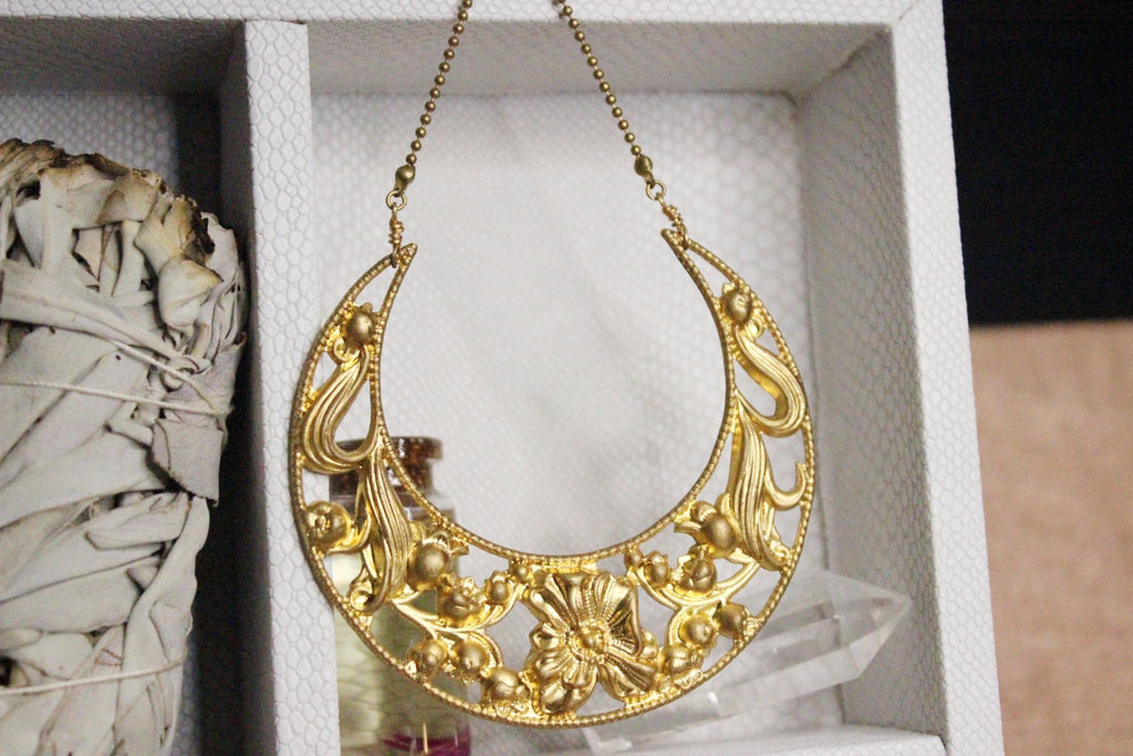 Floral Moon Necklace Brass - We Love Brass