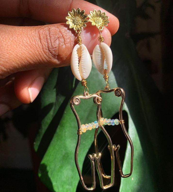 Flower Child Brass Waistbeads Earrings - We Love Brass