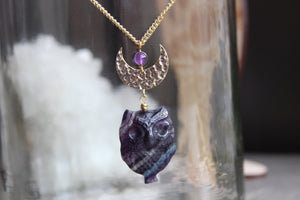 Fluorite Night Owl Brass Crystal Necklace - We Love Brass