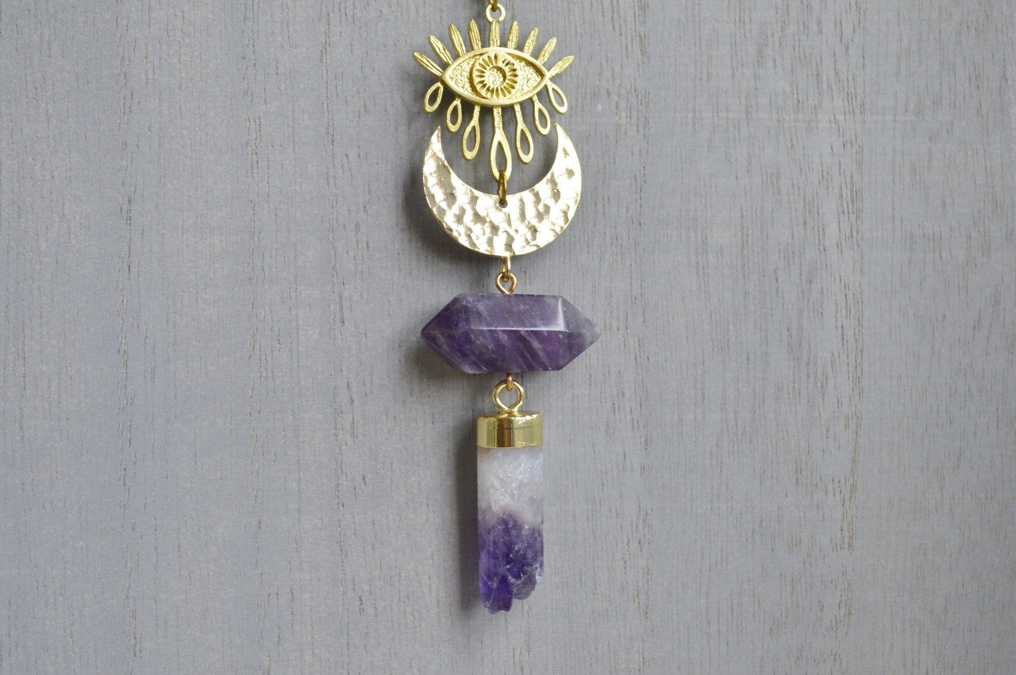 Good Omen - Amethyst Evil Eye Brass Necklace - We Love Brass