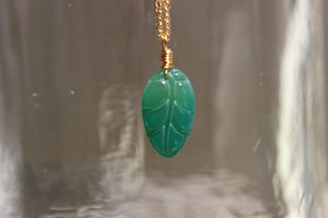 Hand Carved Agate Leaf Brass Necklace - We Love Brass