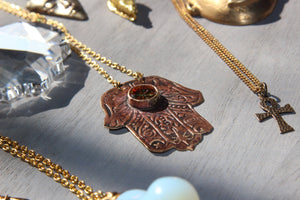 Handmade Hamsa Vintage Glass Necklace - We Love Brass