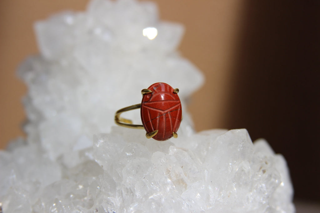 Khepri - Brass Jasper Scarab Ring - We Love Brass