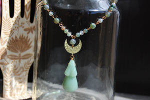 Mama Moon Moss Agate Brass Necklace - We Love Brass