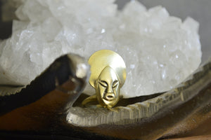 Mama - Vintage Afro Woman Brass Ring - We Love Brass