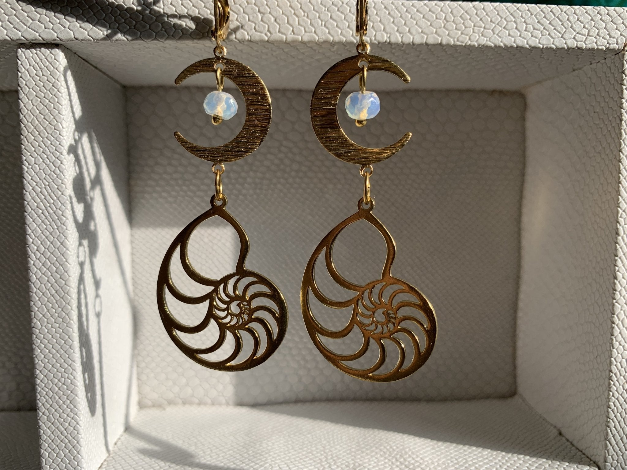 Maya Moon Opalite and Brass Earrings - We Love Brass