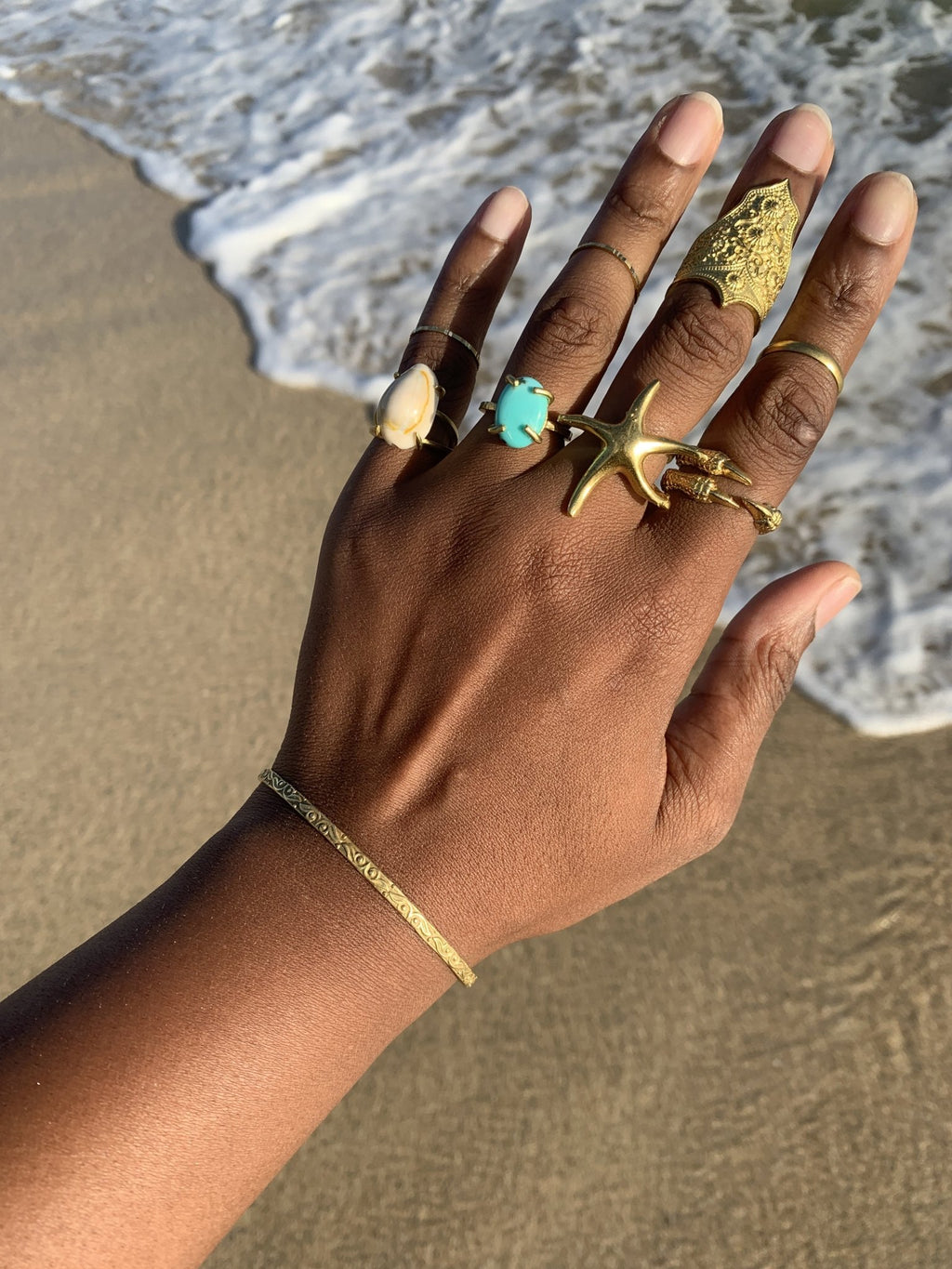 Maya Ocean Hand Made Brass Ring Set - We Love Brass