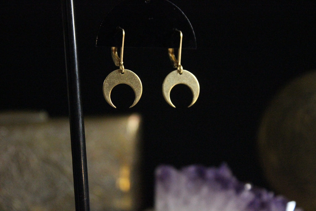 Mini Brass Crescent Moon Earrings - We Love Brass