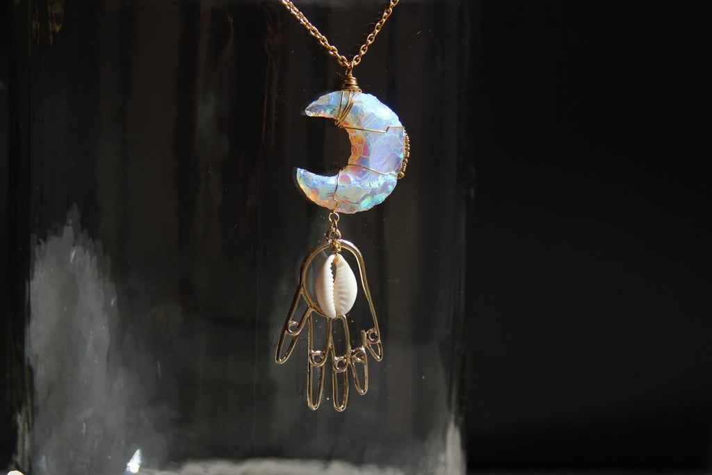 Money Moon Magic Brass Cowrie Necklace - We Love Brass