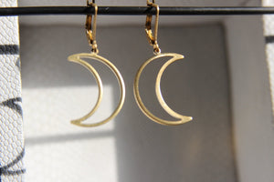 Moon Half Full Brass Earrings - We Love Brass