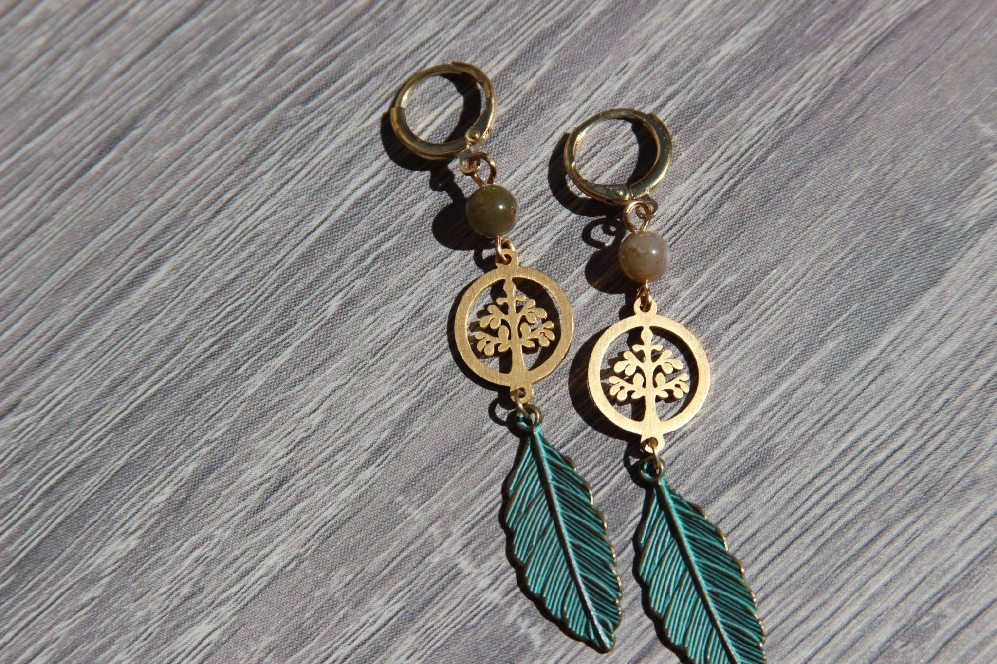 Moss Agate Tree of Life Earrings - We Love Brass