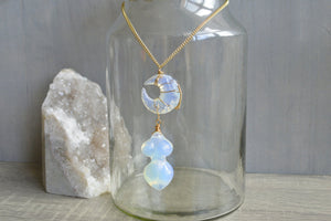 Mother Blue Moon - Brass Opalite Necklace - We Love Brass