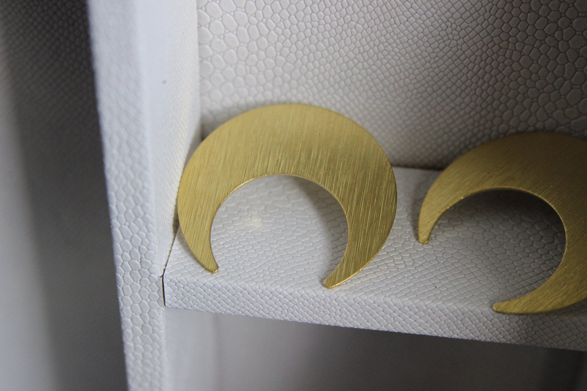 Shimmery Crescent Brass Moon Earrings - We Love Brass