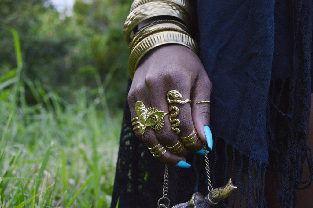 Slither Brass Serpent Ring - We Love Brass