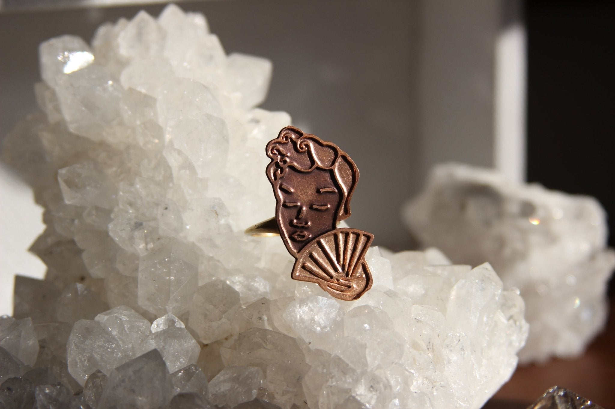 So Hot in Here Copper Cameo Vintage Brass Ring - We Love Brass