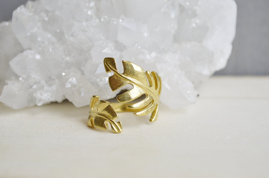 So Vine Brass Leaf Ring - We Love Brass