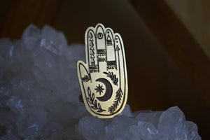 The Seer - a Lunar Inspired Brass Hamsa Ring - We Love Brass