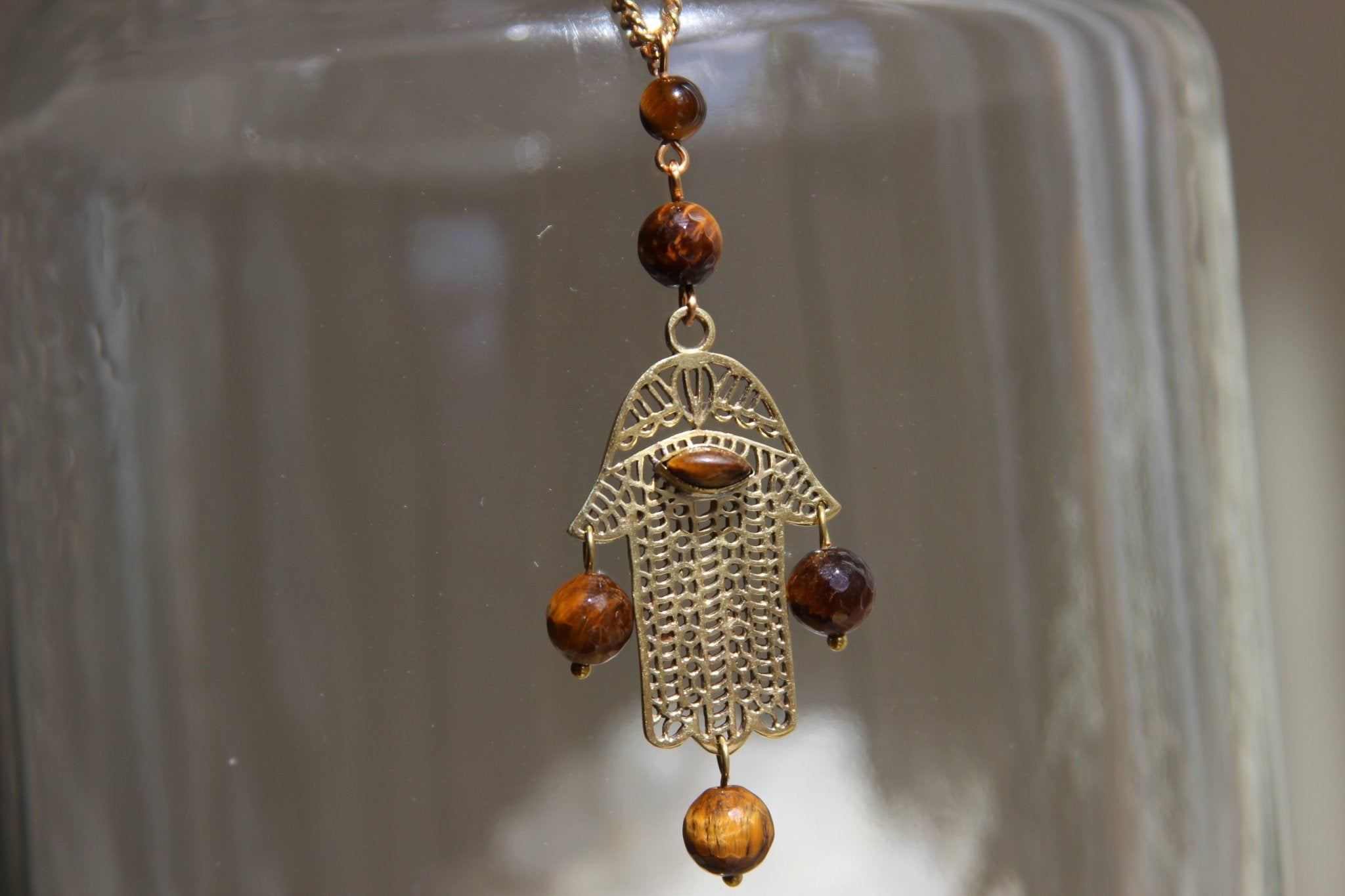 Third Eye Hamsa Necklace - We Love Brass