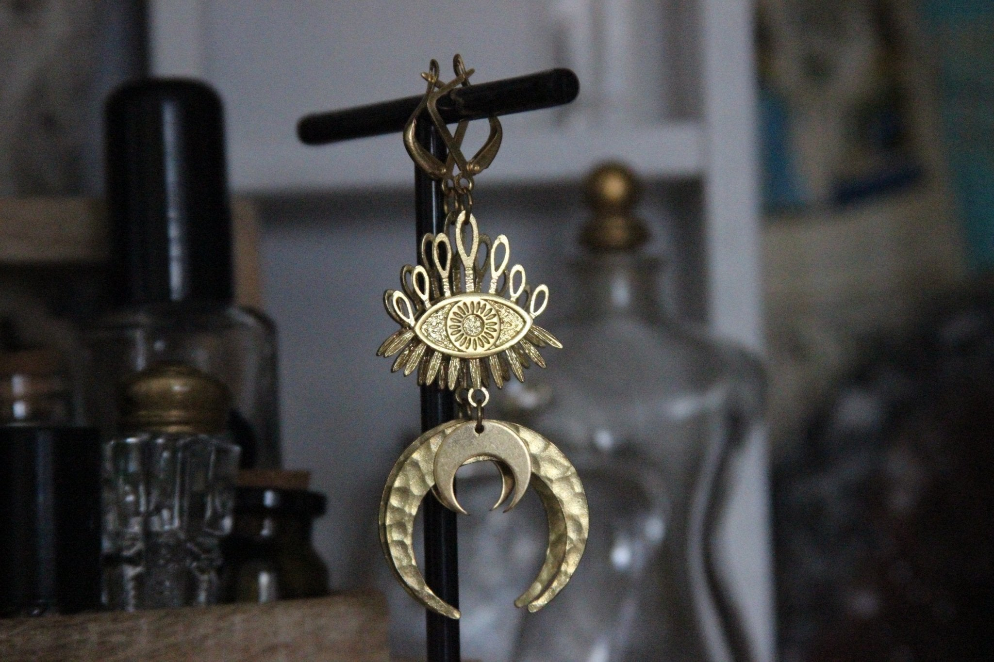 Third Eye Waxing Moon Earrings - Brass - We Love Brass