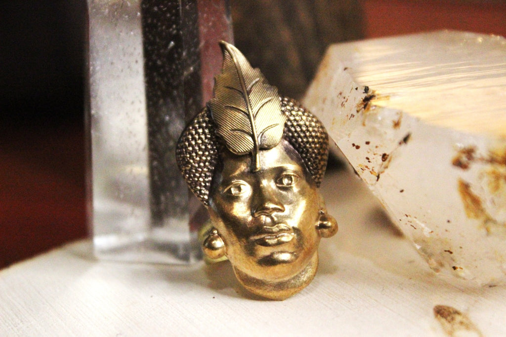 Tribal Mother Vintage Brass Ring - Golden Treasure Box